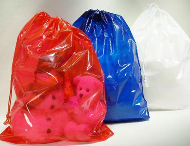 Colored Single Cotton Drawstring Poly Bags