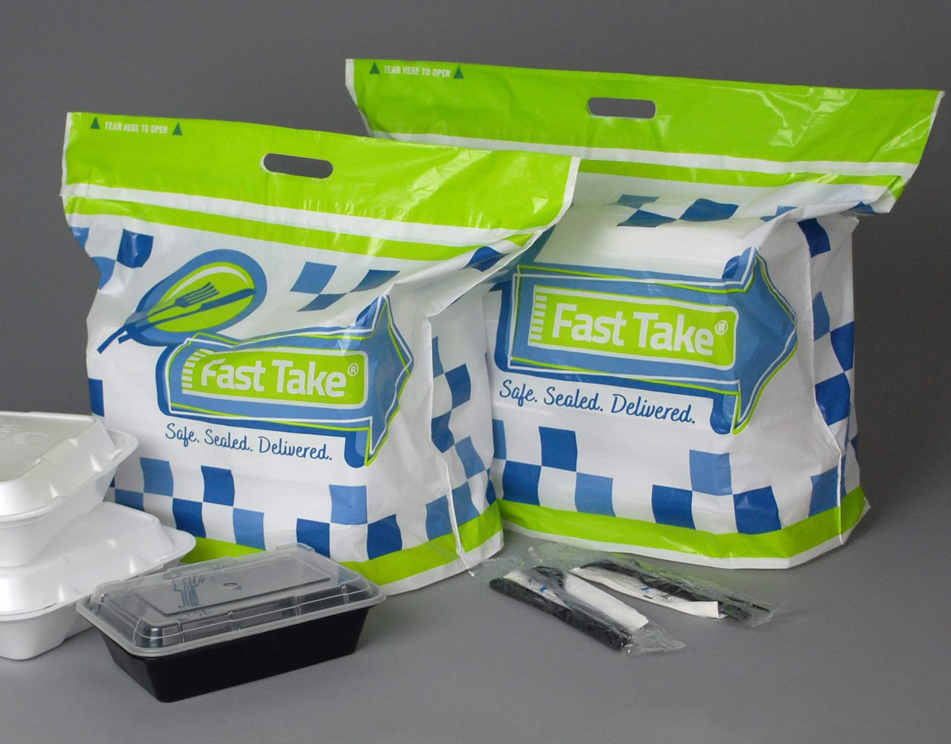 Fast Take Tamper Evident Delivery Carryout Bag - Branded, Kit